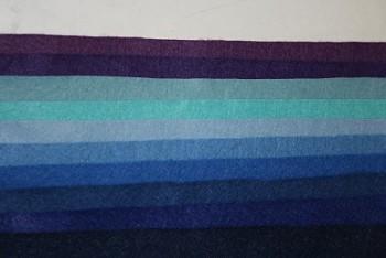 "Filc 1 mm (165 gr.) - obdélník 22 x 20 cm - sada 10 barev - ""Modrá symfonie"""