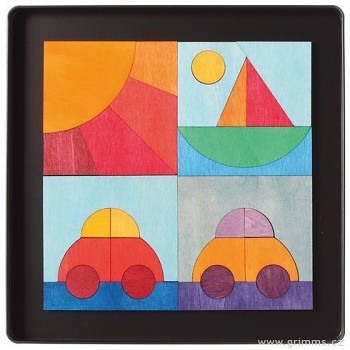 GRIMM´S Mini magnetické puzzle 2 auta, loďka a sluníčko