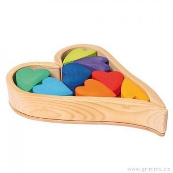GRIMM´S Srdíčka duhová – stavební kostky ze dřeva, 13 dílů