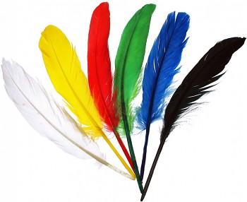 Indiánská pera - mix 5 barev - malá