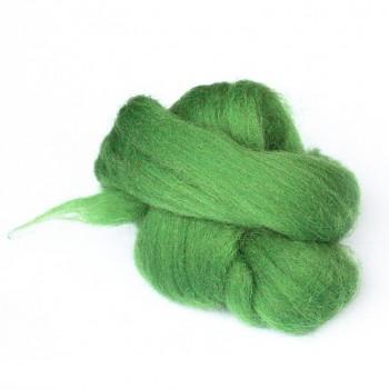 Ovčí vlna barvená česaná 10g - jemná - 44 zelená jarní