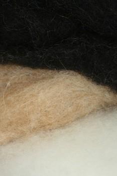 Ovčí vlna přírodní mykaná - mix bílá/žlutá/černá - 20 gr.