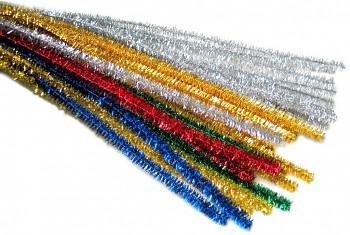 Chlupaté drátky - dlouhé - sada metalických barev