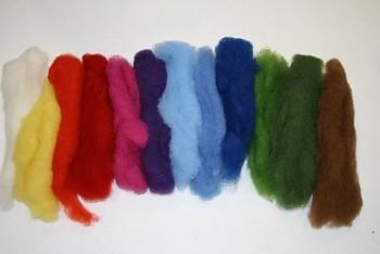 Ovčí vlna merino barvená mykaná - mix 12 barev - 50 gr.