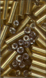 MEYCO Skleněné korálky - tyčinky - 02 světle zlatá se stříbným leskem