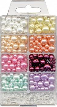 Skleněné korálky kulaté perleťové - mix barev a velikosti