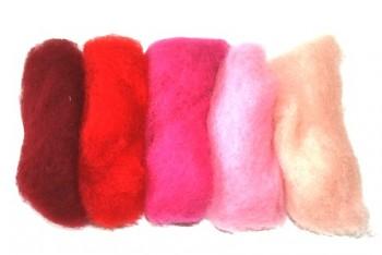 Ovčí vlna merino barvená mykaná - mix 5 červených barev - 20 g
