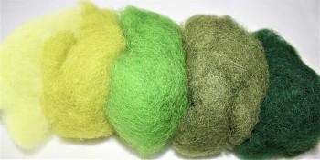 Ovčí vlna merino barvená mykaná - mix 5 zelených barev - 20 g