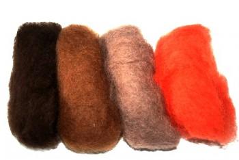 Ovčí vlna merino barvená mykaná - mix 4 zemitých barev - 20 g