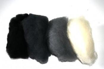Ovčí vlna merino barvená mykaná - mix 4 stínových barev - 20 g