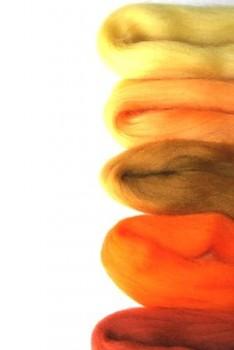 Ovčí vlna merino barvená česaná - mix 5 žlutých barev - 20 g