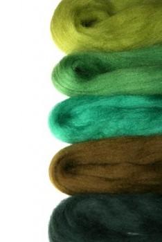 Ovčí vlna merino barvená česaná - mix 5 zelených barev - 20 g