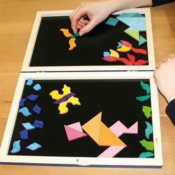 GRIMM´S Mini magnetické puzzle sada 2 malé tangramy s knížečkou s předlohami, 12 dílů