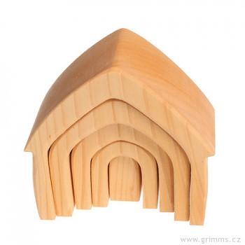 GRIMM´S Stavební kostky přírodní domeček, 5 dílů