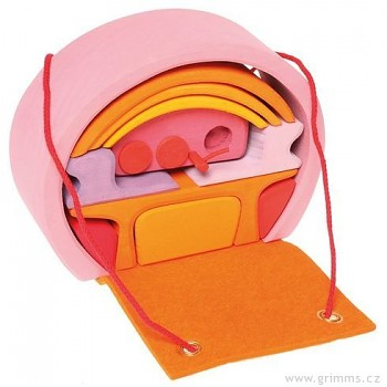 GRIMM´S Přenosný domeček kabelka růžový