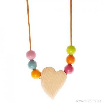 GRIMM´S Srdíčko pro miminko i maminku s velkými korálky - šperk