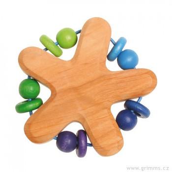 GRIMM´S Dřevěné chrastítko s perličkami – modré a zelené korálky