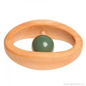 GRIMM´S Chrastítko pro děti s drahým kamenem zelený aventurín