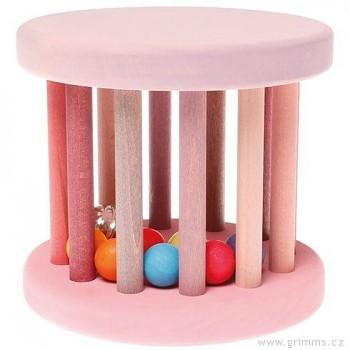 GRIMM´S Hračka pro děti – růžový válec s kuličkami a rolničkou, výška 14 cm