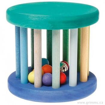 GRIMM´S Hračka pro děti – modrý válec s kuličkami a rolničkou, výška 14 cm