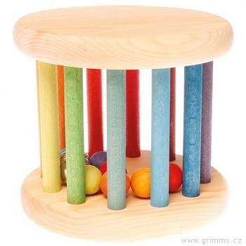 GRIMM´S Hračka pro děti – duhový válec s kuličkami a rolničkou, výška 14 cm