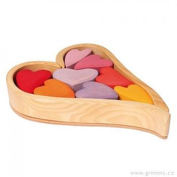 GRIMM´S Srdíčka v červených tónech – stavební kostky ze dřeva, 13 dílů