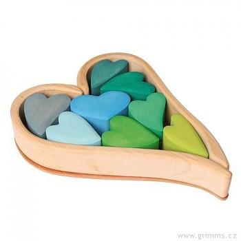 GRIMM´S Srdíčka v zelených tónech – stavební kostky ze dřeva, 13 dílů
