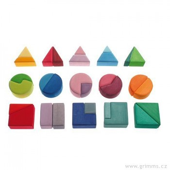 GRIMM´S Stavební kostky trojúhelník, čtverec, kruh, 30 dílů