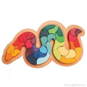 GRIMM´S Zvířecí puzzle duhový had, 35 dílů