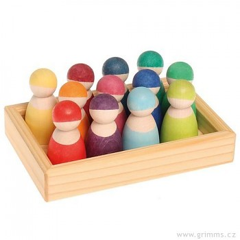 GRIMM´S 12 přátel v dřevěném rámečku, dřevěné figurky