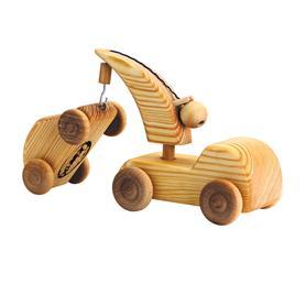 DEBRESK Auto dřevěné malé - odtahové auto s autíčkem na háku