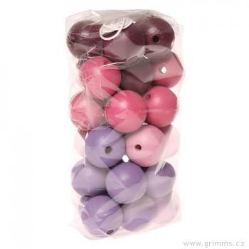 GRIMM´S 30 dřevěných korálků, růžovo-fialové, 20 mm