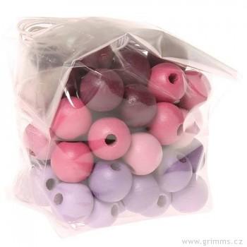 GRIMM´S 60 dřevěných korálků, růžovo-fialové, 12 mm