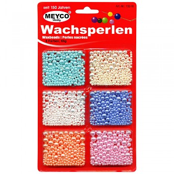 MEYCO Voskované perle - mix 6 barev různých velikostí