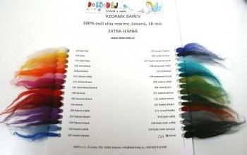 DOBRODĚJ Vzorník vlny merino - barvené - česané - EXTRA jemné