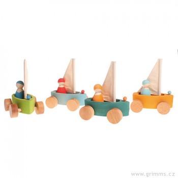 GRIMM´S Plážová plachetnice – 4 lodičky sada