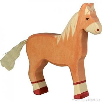HOLZTIGER Koník světle hnědý, stojící – dřevěné zvířátko