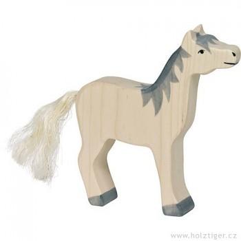 HOLZTIGER Koník bílý s šedou hřívou, se zdviženou hlavou