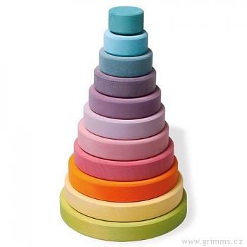 GRIMM´S Dřevěná skládací pyramida velká pastelová, 10 dílů
