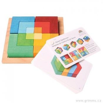GRIMM´S Dřevěné puzzle čtverec střední + předloha, 12 dílů ROZBALENÉ