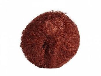 Hladká mohérová příze na vlasy panenek - červeno-hnědá