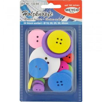 MEYCO Dřevěné barevné knoflíky - sada - různé velikosti