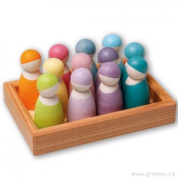 GRIMM´S 12 přátel v dřevěném rámečku, dřevěné figurky pastelové