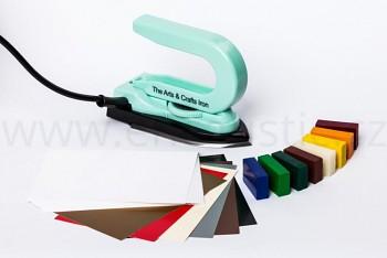 ENCAUSTIC Sada ZELENÁ enkaustická žehlička, vosky a papíry