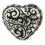 BC Akrylový korálek srdce - pokov starostříbro - 22 x 25 mm