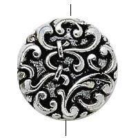 BC Akrylový korálek s motivem lilie  - pokov starostříbro - 14 x 5 mm