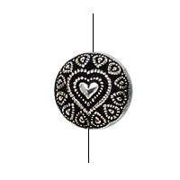 BC Akrylový korálek kulatý s motivem srdce - pokov starostříbro - 10 mm