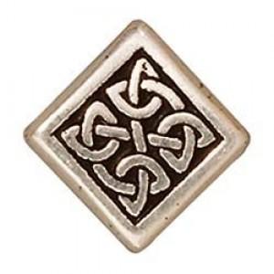 BC Cínový korálek čtvercový s keltským motivem - 10 x 10 x 3,6 mm