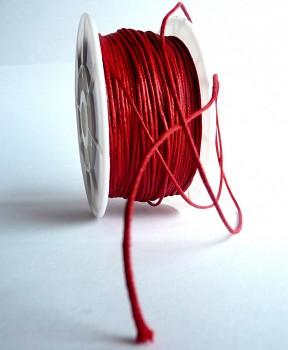 Bavlněná voskovaná šňůrka červená