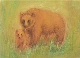 AMS Obrázek Marjan van Zeyl - Medvědice s medvídětem
